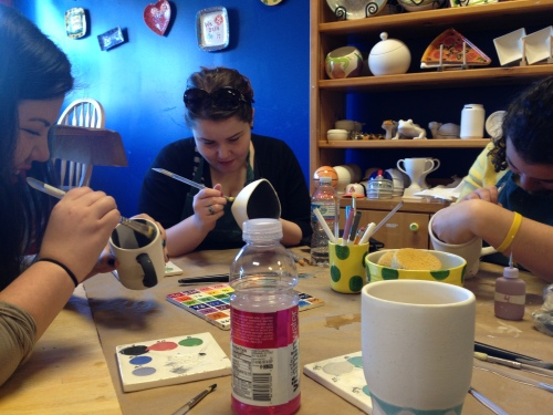 Never take 4 OCD girls out to paint pottery together...