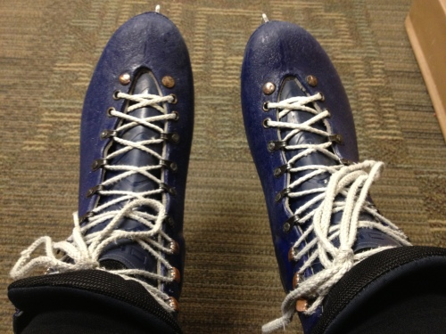Getting all laced up and ready to hit the ice.