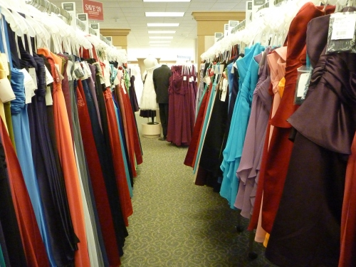 Racks and racks and racks of dresses.