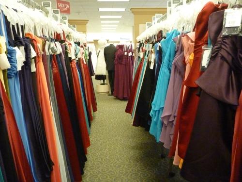 Racks and racks and racks of dresses.