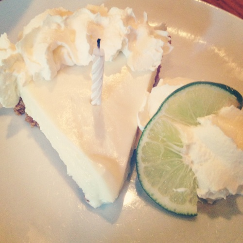 Our waitress was amazing and gave me free keylime pie to celebrate my special day.