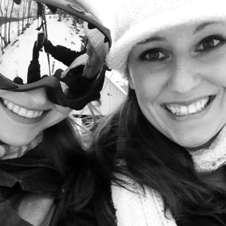 Katie and I posing for pictures on the ski lift... right before I wiped out.