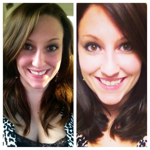 A stereotypical before and after shot. Good riddance split ends!