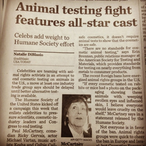 Awesome piece that appeared in USA Today on our Be Cruelty-Free campaign.