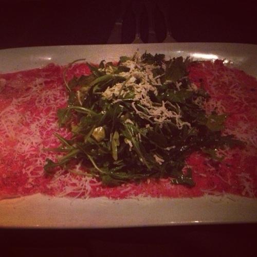 Beef Carpaccio with arugula salad.