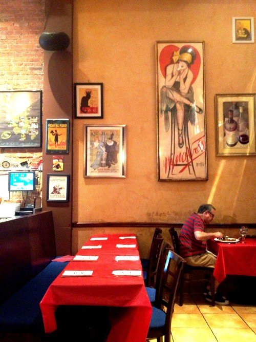 French art adorns the walls of Bistro la Bonne.